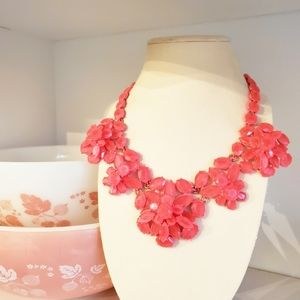 J. Crew Hot Pink Floral Faceted Statement Necklace